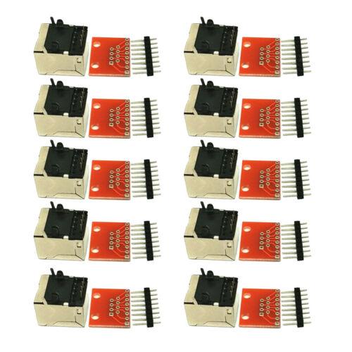 10x RJ45 8 P Pin Anschlüsse und Breakout Adapter Kit für Ethernet Buchsen