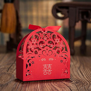 Image Is Loading Chinese Red Laser Cut Wedding Favours Sweets Boxes
