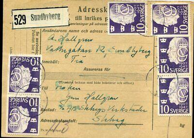 Vereinigt 416304 329 Auf Paketkarte Sundbyberg 1948 Kann Wiederholt Umgeformt Werden. Schweden Nr 6