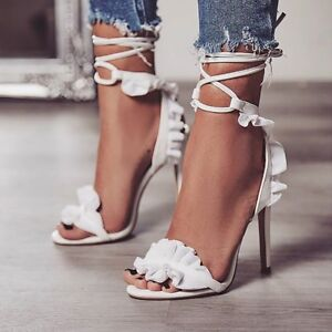 Women-039-s-Ladies-Cross-Strap-Lace-Up-Ruffles-Stiletto-High-Heels-Peep-Toe-Sandals