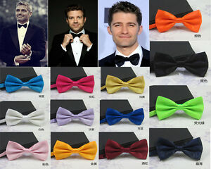19 Colors Bow Tie Mens Polyester Silk Bow Tie Wedding Pardy Butterfly BowTie