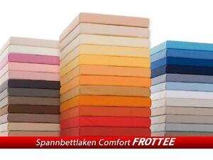 frottee spannbettlaken spannbetttuch baumwolle 140x200 160x200 180x200 220x200 ebay. Black Bedroom Furniture Sets. Home Design Ideas