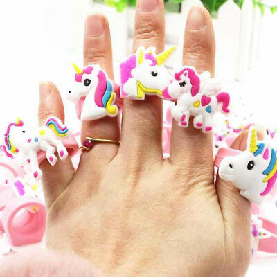 10PCS Unicorn Rubber Rings Kids Cartoon Toy Wedding Party Jewelry Gift