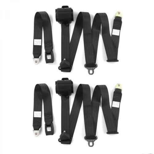 Camaro 1970-1981 Standard 3pt Black Retractable Bucket Seat Belt Kit 2 Belts