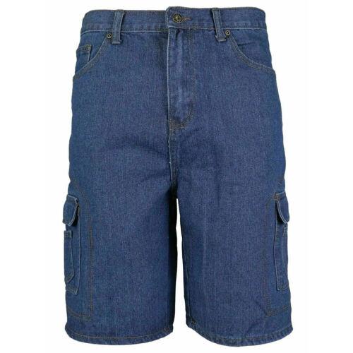 Men/'s Denim Cargo Shorts Premium Cotton Multi Pocket Relaxed Fit Stonewash Jean