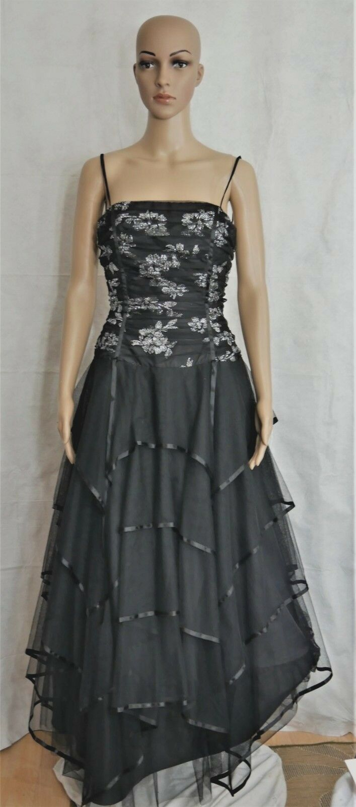 Black Gothic Lace Up Back Tiered Tulle Skirt Evening Dress Blondie Nite Size 7