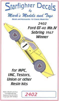Starfighter Decals 1//24 FORD GT-40 Mk.IV 1967 SEBRING WNNER
