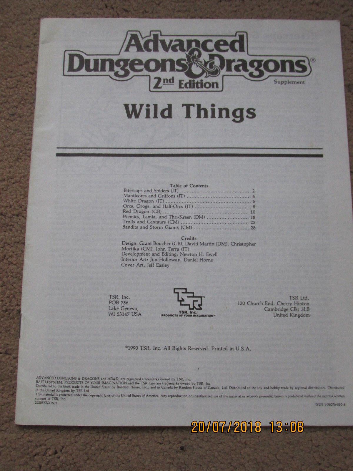 TSR AD&D 2E WILD THINGS SUPPLEMENT RARE ADVANCED DUNGEON DRAGONS VGC RPG
