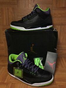 76612cc45b91 RARE🔥 Nike Air Jordan 3 III Joker Black Electric Green Purple Sz 14 ...