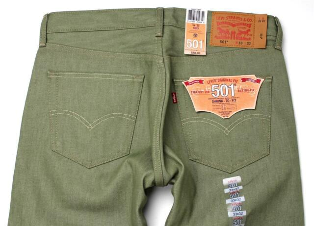 NEW LEVI'S 501 MEN'S ORIGINAL FIT STRAIGHT LEG JEANS BUTTON FLY OLIVE 501-1437