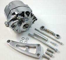 Chrome 100 AMP 1 One Or 3  Wire BBC BB Chevy Alternator W/ Bracket Long Pump V8