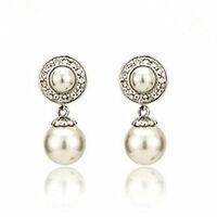 Beautiful Stylish Silver & Cream White Pearl Drop Dangle Earrings Bridal E546