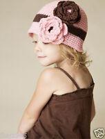 Baby Kinder Mütze mit Blume Blüte ROSA Strickmütze Mädchen Häckelmütze NEU