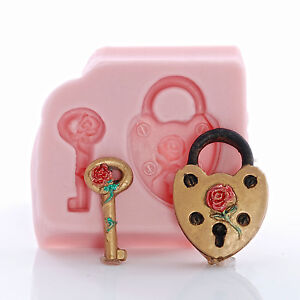 Heart-Padlock-Silicone-Mold-Food-Safe-Fondant-Resin-Urethane-Polymer-Clay-863