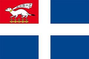 DRA053  DRAPEAU SAINT  MALO  MALOUIN  60X90    AVEC  OEILLET  DE  FIXATION FLAG