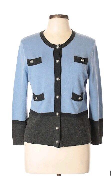 Carlise full button front knit blend blazer, cardigan, size large