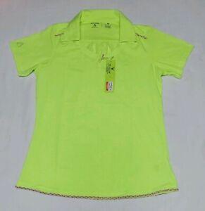 NEW-Antigua-Women-039-s-Clever-Desert-Dry-Golf-Polo-Neon-Yellow-Green-Size-Medium