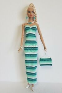 POPPY-PARKER-Clothes-TEAL-DRESS-Beaded-PURSE-amp-JEWELRY-HM-Fashion-NO-DOLL-d4e