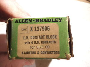 Allen-Bradley X137906 L.H. CONTACT BLOCK W/ 4 N.O. CONTACTS SIZE 00