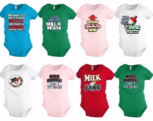 Funny Baby shirt Bodysuit Infant toddler Creeper Boobs Milk Shower party Gift