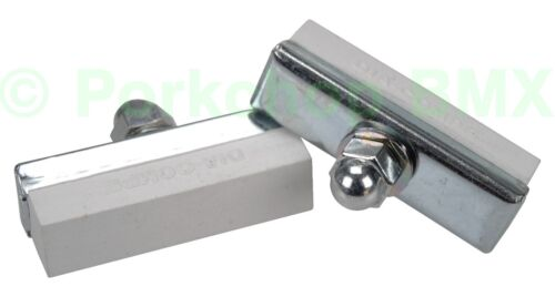 PAIR WHITE Dia-Compe reissue threaded brake pads old school BMX bicycle