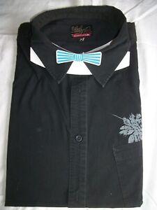 Chemise-manche-courte-noir-QUIKSILVER-XL-43-44-imprime-fleurs-bleues