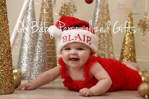 Image is loading PERSONALIZED-MONOGRAM-CUSTOM-Christmas-Santa-Hat-Plush-Baby - eb881dbf4fa