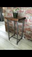 Industrial Side Table With Rustic Wood Top