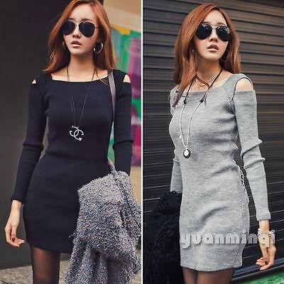Autumn Winter Women Long Sleeve Knit Cocktail Party Sweater Bodycon Mini Dress
