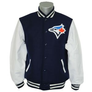 new concept 8b563 8e36e Details about Toronto Blue Jays MLB Mitchell & Ness Authentic Wool Leather  Varsity Jacket Men