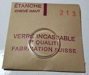 Verre-de-montre-suisse-bombe-plexi-diametre-213-Watch-crystal-vintage-NOS