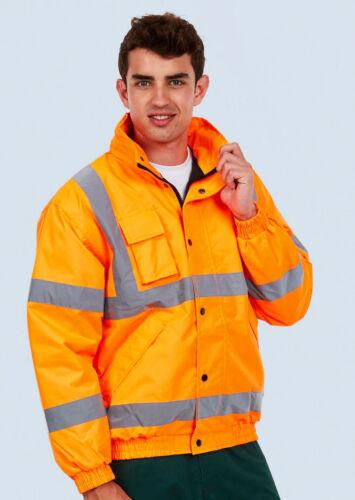 Personalised Print Hi Vis Bomber Jacket Waterproof Padded Security Workwear