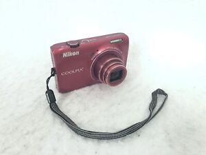 Nikon COOLPIX S6300 16.0MP Digital Camera - Red Battery No Charger
