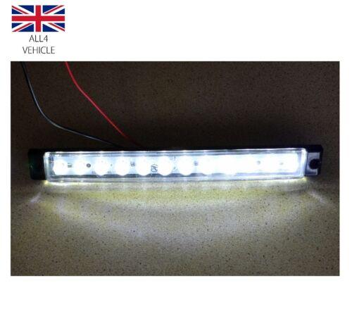 2 X 12V 12 LED WHITE SIDE MARKER LIGHTS TRUCK LORRY TRAILER BUS CAMPER CARAVAN