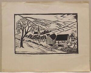 """"""" Vue De Paysage Avec Village """" Original Gravure Sur Bois Signé Dat. Rud.brünner"""