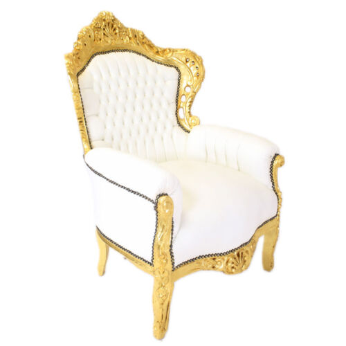 ARMCHAIR - BAROQUE STYLE ARMCHAIR GOLD & WHITE FAUX LEATHER # F30MB140