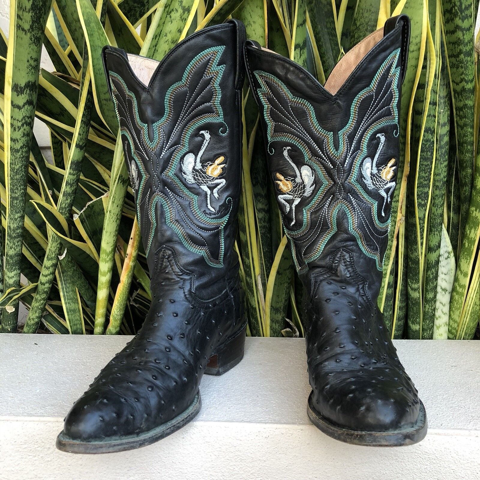 Rancho para hombre de cuero negro botas de vaquero occidental 27 1 2 Avestruz bordado de México
