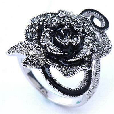 Women Retro Rose Flower Ring Black Crystal Vantige Big Flower Rings Jewelry Gift