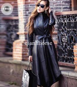 Trench-Coat-Womens-Ladies-Pu-Leather-Belt-Long-Parka-Outwear-Irregular-Jacket