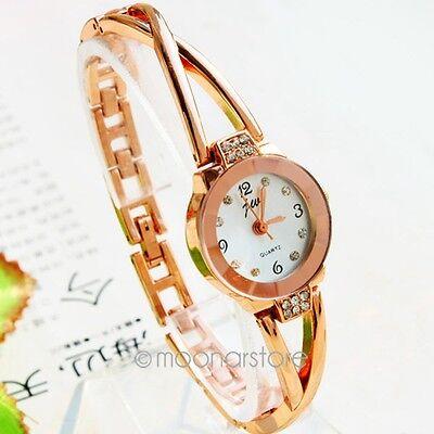 Fashion Women's Rose Gold Plated Alloy Timepiece Rhinestone Bracelet Wrist Watch