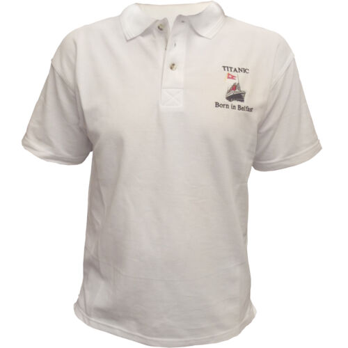 RMS Titanic Clothing Polo Shirt Born In Belfast White Star Line 1912 New