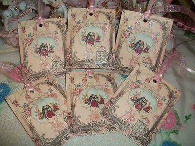 6 Maud Humphrey Pretty Little Girls Gift Tags Ornaments Handmade Glittered