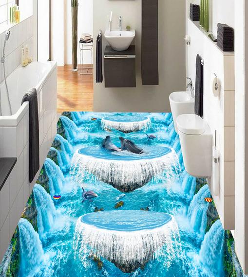 3D Water Curtain Dolphin 7 Floor WallPaper Murals Wall Print Decal AJ WALL CA