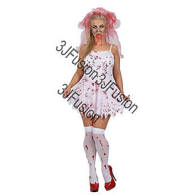 Adult Ladies Zombie Bloody Bride + Veil Halloween Fancy Dress Costume Womens EA