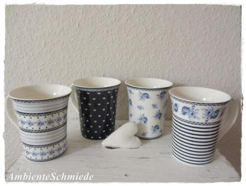SET 4x Kaffeetasse Kaffeebecher ROSEN HERZEN Tasse blau indigo Blumen Shabby