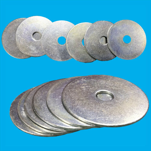 Large Flat Penny Repair Washers 40mm x 1.5mm BZP Steel M8 Ring 8mm Hole