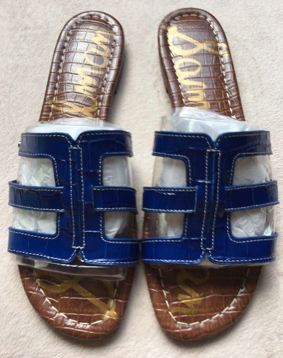 Sam Edelman Berit Strappy Croc-Embossed Flat Slide Sandale, Sz 10, Navy Blau NEU
