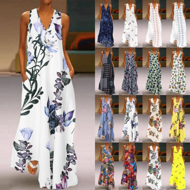 ZANZEA 8-24 Women Sleeveless Long Maxi Sundress Kaftan Cocktail Party Boho Dress