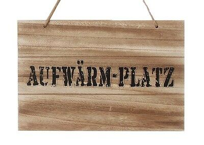 "Holzschild ""Aufwärm-Platz"" Shabby Chic Schild Wandbild Türschild"