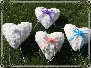 Coeur Vintage Ringkissen Roses Alliances Ringschatulle Anneaux Bleu Vieux Rose Violet-afficher Le Titre D'origine